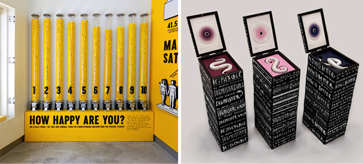 (left image) Sagmeister and Walsh - Gumball infographic installation asking visitors how happy they are, The Happy Show, at the Institute of Contemporary Art in Philadelphia; (right image) Sagmeister and Walsh – Limited edition film packaging.