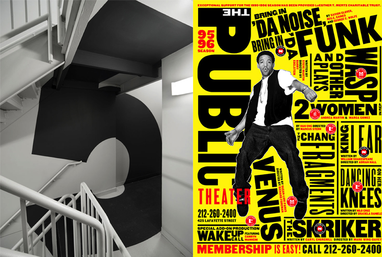 (left image) Paula Scher - Environmental graphics for Bloomberg L.P.'s headquarters located on the east side of Midtown Manhattan; (right image) Paula Scher - Promotional poster series for a theater production that debuted at the New York Shakespeare Festival/Public Theater in 1995.