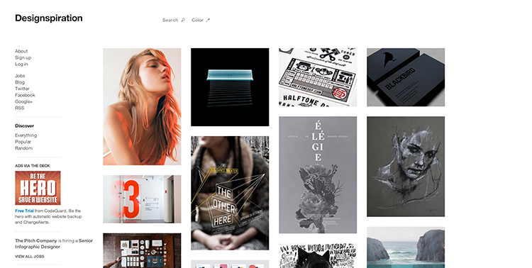 Designspiration lets you keep collections of your most inspiring designs.