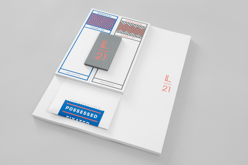 Overview of the stationery for Lucky 21 by Blok Design.