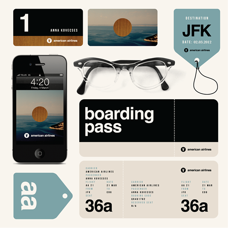 Experimental design for American Airlines by Ana Kovecses. Here we can easily have a sense of the stationery's size by having the smartphone and glasses as a reference.