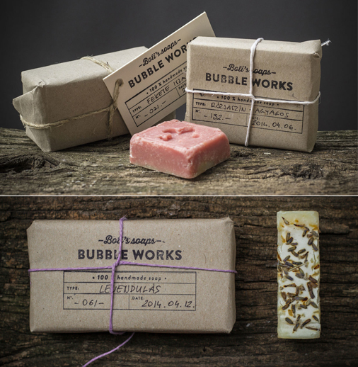 <em>Another example</em> of natural materials used in the packaging design: Bubble Works by <a href='https://www.behance.net/gallery/16569147/BUBBLE-WORKS-package'>Zsolt Zleovszki</a> (Hungary).