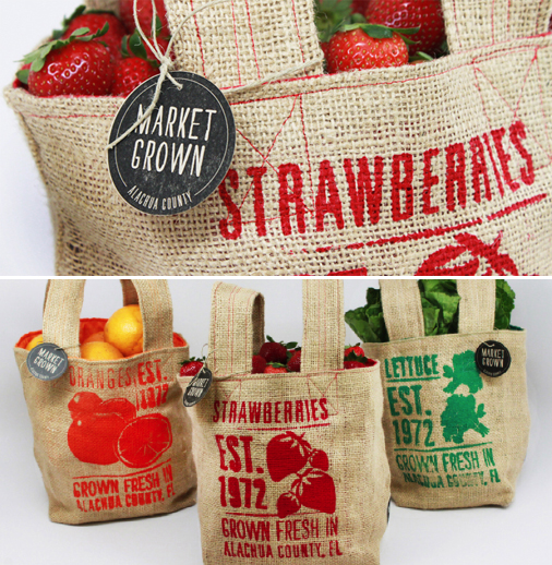 These cute Burlap Bags were designed for Market Grown, a campaign to help local farmers Florida, United States. </p> <p><em>The bags are made out of burlap as a way to up-cycle existing materials found at the market. The inside of the bags are lined with colorful nylon fabric so they are water-proof for fresh produce, - </em>say the designers <a href='http://www.thedieline.com/blog/2011/4/15/student-spotlight-market-grown.html' target='_blank'>Catalina Rozo & Melissa Clinard</a>.