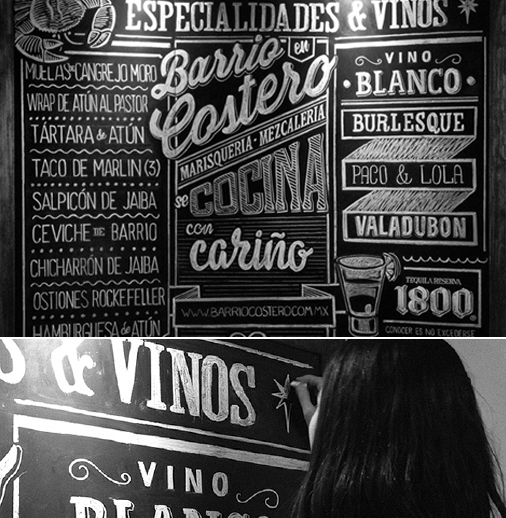 This Billboard was hand-drawn for a sea food restaurant Barrio Costero by <a href='https://www.behance.net/gallery/9190217/White-Chalk'>Jocelyn R. and Daniela Panama</a> (Mexico).  <p>Rustic's <strong>retro looking typography</strong> and <b>illustration</b> bring tradition back to our lives, reminding us of a time when things were real, not plastic. </p>