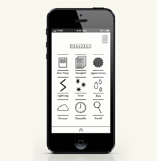 <a href='https://www.behance.net/gallery/T-R-A-V-E-R-S-E/8769919'>Traverse mobile app</a> created by Willis Cundall has a minimalistic geometric look that does not follow the traditional <em>flat</em> aesthetic. This gives an original touch to this weather sharing application.