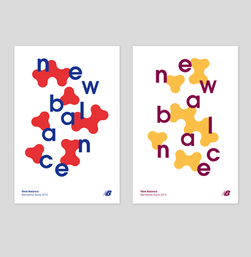 In these posters for <em>New Balance </em>designed by <a href='http://fino-studio.com/proyecto/new-balance/'>Fino-Studio</a> (Spain), we only see two visual elements: the letters and the background shapes. The way the letters are scattered through the poster's space make them another visual element – they have the strength of an image, but use only the brand's name.