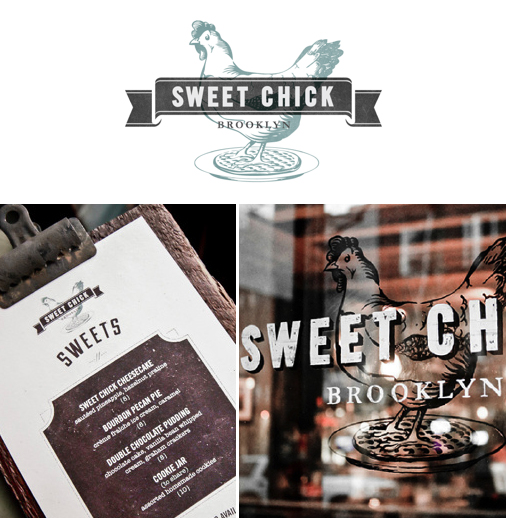 <em>Another example</em>: Brand identity for a Brooklyn based restaurant & bar specialized in chicken & waffles. Design by <a href='https://www.behance.net/gallery/7676429/Sweet-Chick'>No Entry Design</a> (USA).