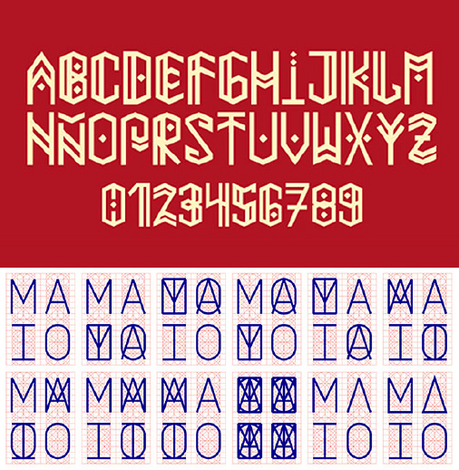 Here are some Native American inspired fonts that could have influenced or inspired the previous work…  <p><em>Above</em>: Paihuen Mapuche font by <a href='https://www.behance.net/gallery/11121691/Paihuen-Mapuche-Free-Font'>Benajamín Rivera</a> (Chile).<br /> <em>Below</em>: Mayo by <a href='https://www.behance.net/gallery/4203399/Maio-Visual-Identity'>Two Points</a> (Spain).</p>