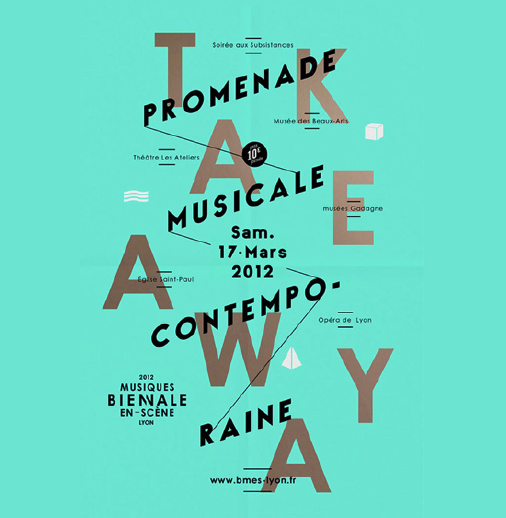 In this poster designed for <em>Musiques Bienale </em>by <a href='http://les-graphiquants.fr/'>Les Graphiquants</a> (France), we see that a slash symbol is used to connect one message that overlays another. The black words at an angle are connected through slashes, helping the eye follow the logic and connect the concepts.