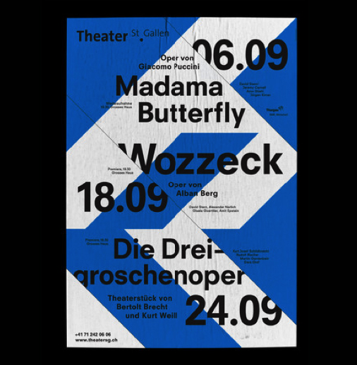 In the poster for <em>San Gallen</em> theatre designed by <a href='http://www.bureaucollective.ch/#!/project/60/0'>Bureau Collective</a> (Sweden), we see the reverse situation - a slash is used to separate concepts to maintain the distinction between different sets of information.