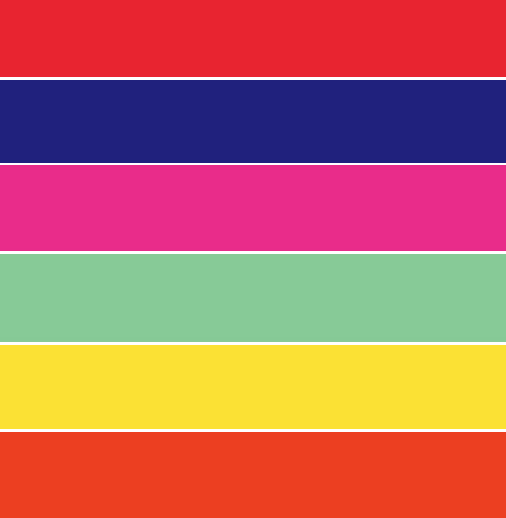 The most up-to-the-minute examples of <em>Met Hip</em> include neon and strong colors like bright red, sun yellow and marine blue.