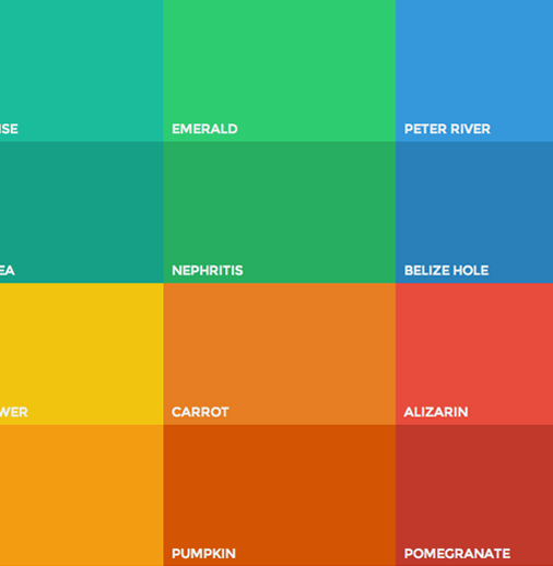 Google has perfectly summed up the color palette which is the most popular today on the web: <em>Color is inspired by bold color statements juxtaposed with muted environments, taking cues from contemporary architecture, road signs, pavement marking tape, and sports courts. Emphasize bold shadows and highlights. Introduce unexpected and vibrant colors</em>. - Google Material Design Specs</p> <p>Example: <a href='http://flatuicolors.com/' target='_blank'>Flat UI Colors</a>