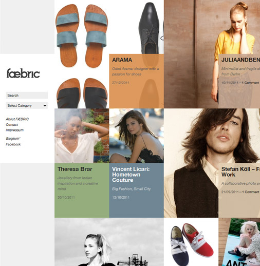 Tasteful and elegant usage of the grid layout can be found on the <a href='http://www.faebric.com/' target='_blank'>Faebric</a> website, a fashion students magazine. Photos, blocks of text and different colors are combined together without making the layout cluttered nor confusing.