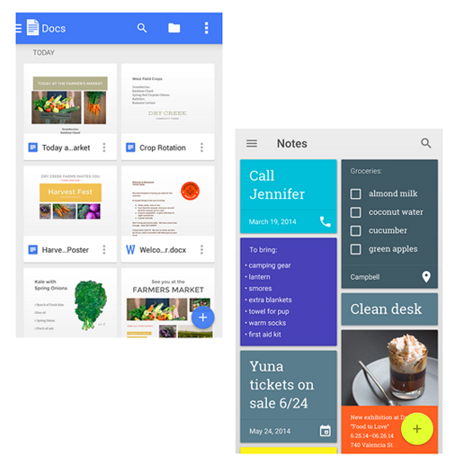 The blue and yellow floating buttons on Google's Doc and Keep apps are placed in the bottom right corner.