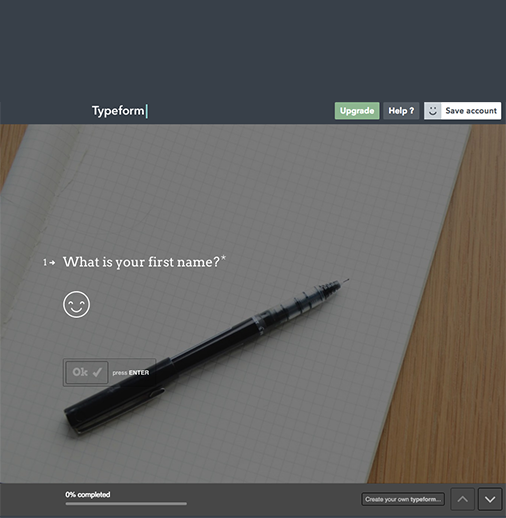 "<a href=""http://typeform.com"" target=""_blank"">Typeform</a> allows to create interactive forms. Only one question is shown on the screen making the user experience very focused and streamlined. Clean, simple and straightforward."